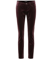 Dolce And Gabbana Velvet Cropped Skinny Jeans Brown
