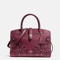 Coach Willow Floral Mercer Satchel 30 In Grain Leather Light Gold Burgundy