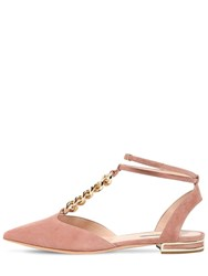 Casadei 10Mm Unchained Suede Flats Blush