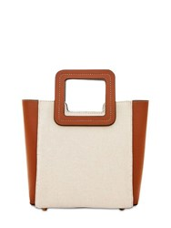 Staud Mini Shirley Canvas And Leather Tote Bag Natural