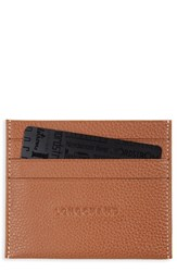 Longchamp Women's 'Le Foulonne' Pebbled Leather Card Holder Brown Cognac