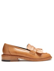 Robert Clergerie Joux Ruffle Leather Loafers Tan