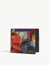 Paul Smith Collage Rose Saffiano Leather Billfold Wallet Printed