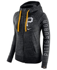 Nike Women's Pittsburgh Pirates Gym Vintage Full Zip Hooded Sweatshirt Black Heather