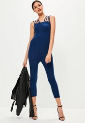 Missguided Navy Jersey Multi Strap Cropped Unitard Jumpsuit