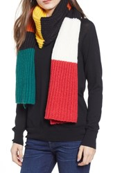 Trouve Colorblock Chunky Knit Scarf Black Combo
