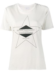 Saint Laurent Logo Print T Shirt Nude And Neutrals