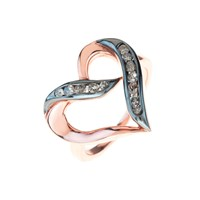 Latelita London Diamond Large Open Heart Rosegold Ring Black Rose Gold Pink
