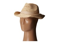 Hat Attack Raffia Crochet Classic Fedora Natural Natural Leather X Band Fedora Hats Tan
