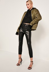 Missguided Black Petite Faux Leather Lace Up Trousers