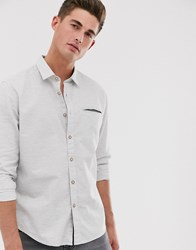 Esprit Slim Fit Shirt With Contrast Buttons In Grey