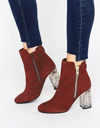 Faith Boston Zip Marble Detail Heeled Ankle Boot Grenadine Red
