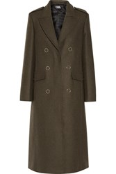 Karl Lagerfeld Lace Up Wool Blend Coat Army Green Usd