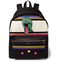 Saint Laurent City Leather Trimmed Dinosaur Patterned Canvas Backpack Black