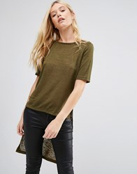 Jdy Margie Hi Low T Shirt Dark Olive Green