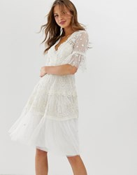 Needle And Thread Embroidered Midi Dress With Flutter Sleeve In Ivory White