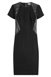 Vionnet Leather Paneled Sheath Dress Black