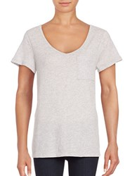 Lord And Taylor Petite Solid Scoopneck Cotton Slub Tee Shadow Heather