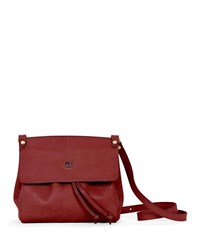 Il Bisonte Large Leather Flap Crossbody Bag Red