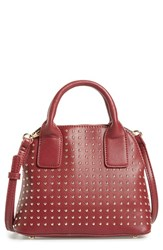 Sole Society Amalia Studded Dome Faux Leather Satchel Red Berry