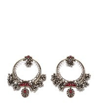 Alexander Mcqueen Crystal And Pearl Hoop Earrings Female Silver
