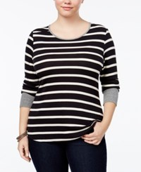 Extra Touch Trendy Plus Size Striped Top Black Combo