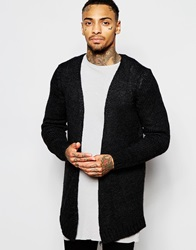 Asos Open Front Cardigan With Side Zips Charcoal