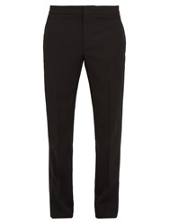 Saint Laurent Slim Leg Side Stripe Wool Tuxedo Trousers Black