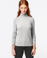 Charter Club Cashmere Turtleneck Sweater Heather Crystal