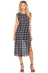 Michael Stars Sleeveless Button Up Midi Dress Black And White