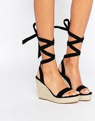 Asos Talent Tie Leg Wedge Sandals Black