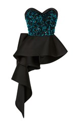 Elizabeth Kennedy Bustier Top With Peplum And Embroidery Black