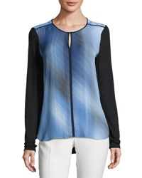 Elie Tahari Amenia Colorblocked Fluid Silk Crepe Blouse Multi