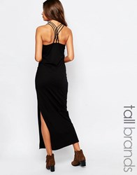 Vero Moda Tall Strappy Cross Back Maxi Dress With Side Split Black
