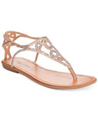 Zigi Advice Rhinestone Flat Thong Sandals Women's Shoes Cinnamon