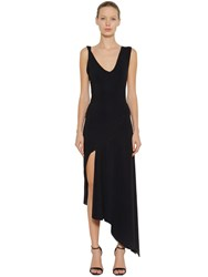 Faith Connexion Long Asymmetric Stretch Crepe Dress Black