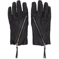 The Viridi Anne Black Leather Zip Up Gloves