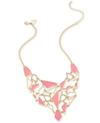 Thalia Sodi Gold Tone Geometric Pink Enamel And Crystal Pave Statement Necklace Only At Macy's