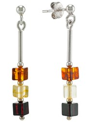 Be Jewelled Sterling Silver Tricolour Amber Cube Drop Earrings Multi