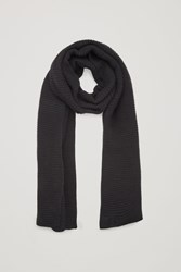 Cos Ribbed Cashmere Scarf Black
