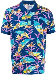 Moschino Tropical Teddy Print Polo Shirt Blue