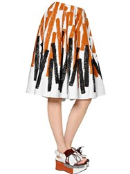 Marni Printed Cotton And Linen Drill Skirt
