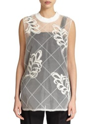 3.1 Phillip Lim Sheer Embroidered Tunic White