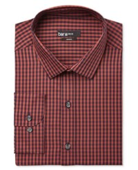 Bar Iii Men's Slim Fit Dobby Gingham Dress Shirt Only At Macy's Rust