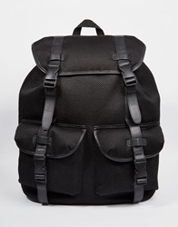 Asos Oversized Backpack In Black Mesh With Straps
