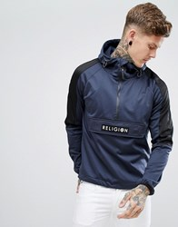 Religion Hoodie With Side Zips And Contrast Hood In Tricot Black Washed Black Navy