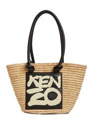 Kenzo Raffia And Leather Tote Bag Natural