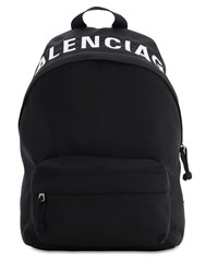 Balenciaga Sm Wheel Logo Print Nylon Backpack Black