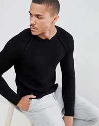 Only And Sons Long Line Knitted Jumper Black