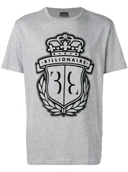 Billionaire Logo Print T Shirt Grey